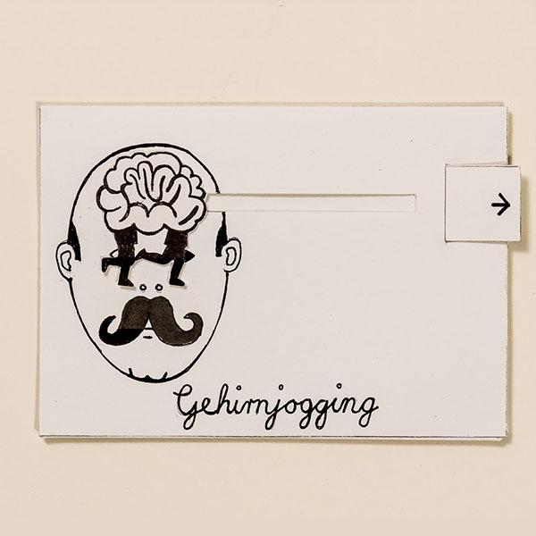 Gehirnjogging – Bewegliche Postkarte von Ralf Bednar
