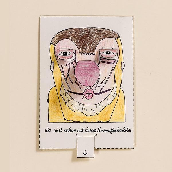 Nasenaffe – Bewegliche Postkarte von Ralf Bednar
