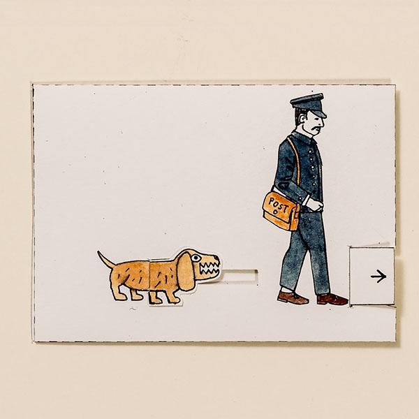 Klassische Arbeitsunfälle – Bewegliche Postkarte von Ralf Bednar