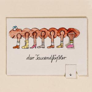 Tausendfüßler – Bewegliche Postkarte von Ralf Bednar