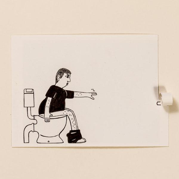 Toilette – Pop-up-Postkarte von Ralf Bednar