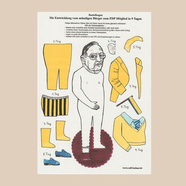 Bastelbogen einer Pappfigur, die eine Karikatur des ehemaligen Aussenministers Genscher (FDP) zeigt