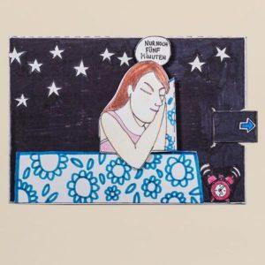 Bewegliche Postkarte, Motiv Frau im Bett