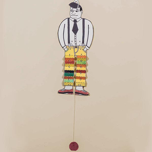 Animation: Hampelmann aus Pappe, dessen bunte Hose sich auf Zug in Falten legt