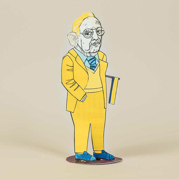 Pappfigur, die eine Karikatur des ehemaligen Aussenministers Genscher (FDP) zeigt