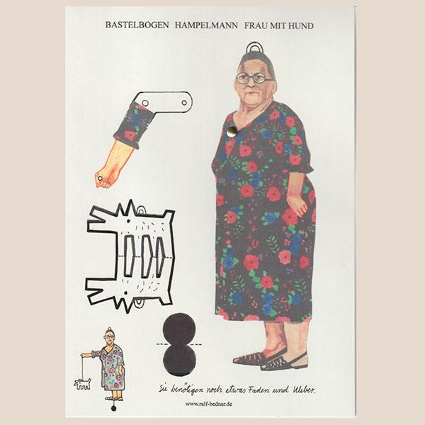 """Bastelbogen """"Frau mit Hund"""" zum Ausschneiden"""
