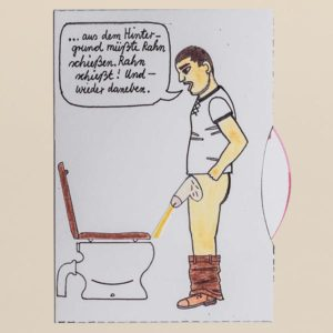 Bewegliche Postkarte, Motiv Mann vor Toilette