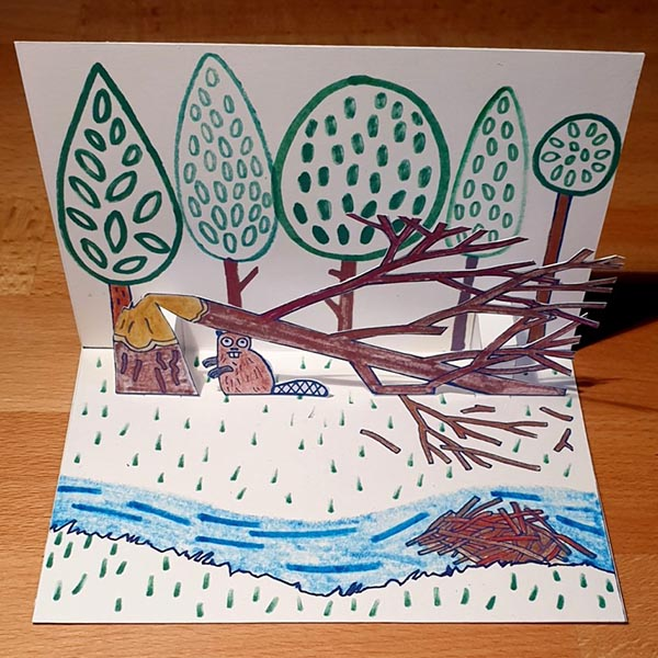 Pop-up-Postkarte »Der Biber«