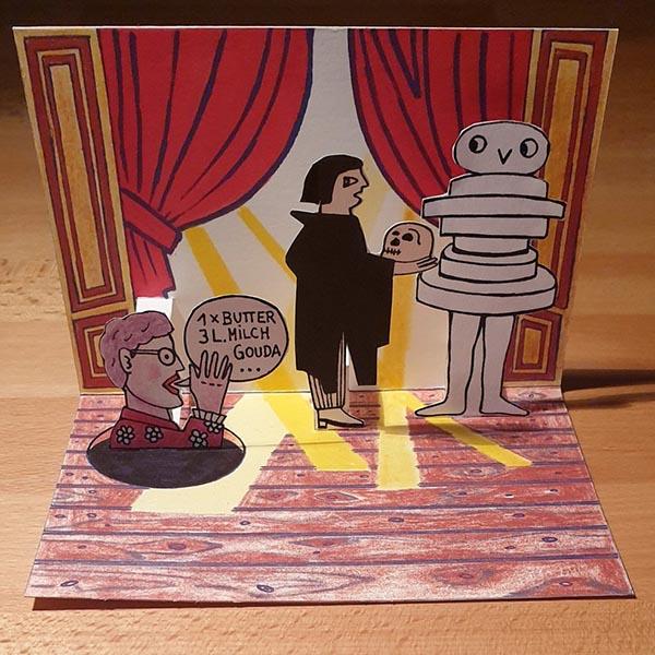 Pop-up-Postkarte »Die Souffleuse«