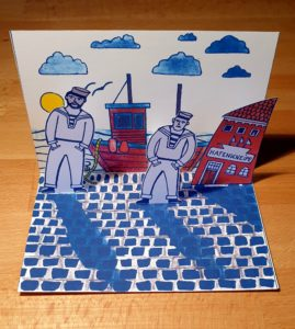 """Pop-up-Postkarte """"Erster Landgang"""""""